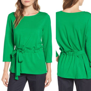 3/4 sleeve Gathered Waist Tie Top solid green
